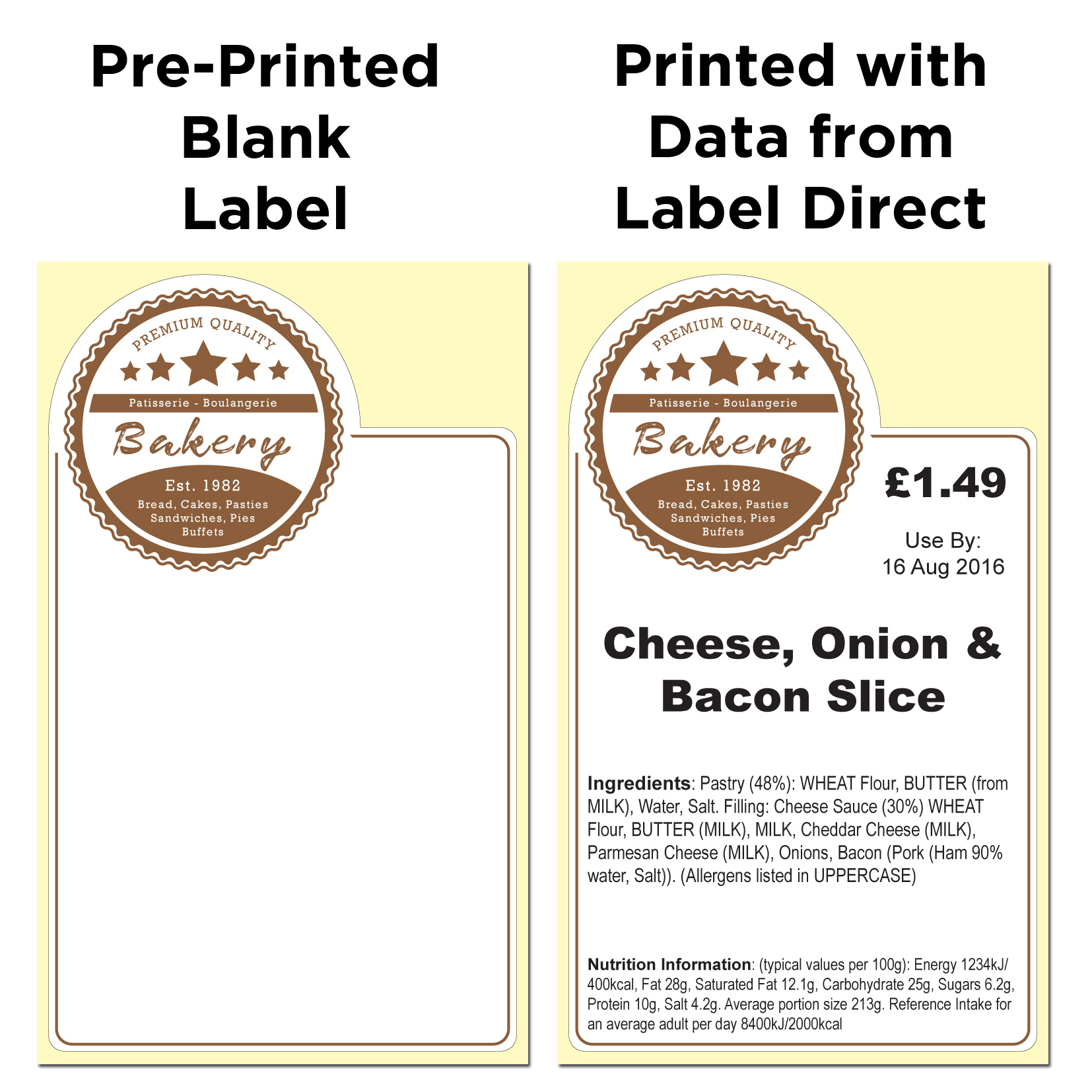 Example bakery labels using a pre printed label over printed with text from a
